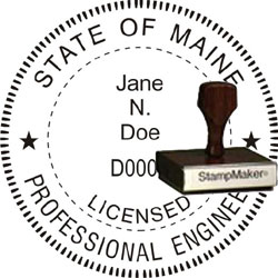 Engineer Seal - Wood Stamp - Maine