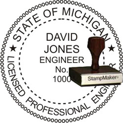 Engineer Seal - Wood Stamp - Michigan