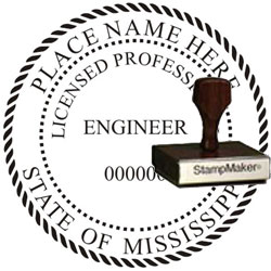 Engineer Seal - Wood Stamp - Mississippi
