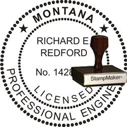 Engineer Seal - Wood Stamp - Montana