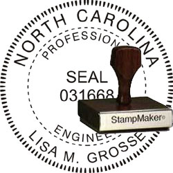 Engineer Seal - Wood Stamp - North Carolina