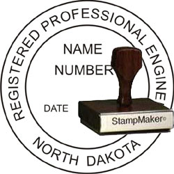 Engineer Seal - Wood Stamp - North Dakota
