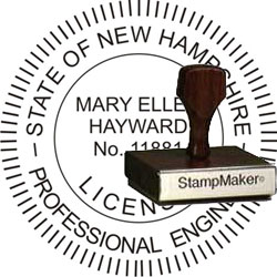 Engineer Seal - Wood Stamp - New Hampshire