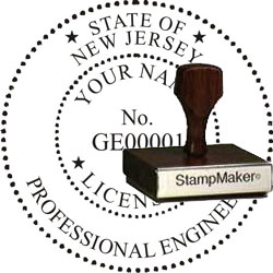 Engineer Seal - Wood Stamp - New Jersey