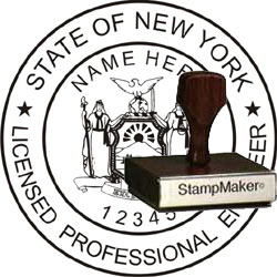 Engineer Seal - Wood Stamp - New York