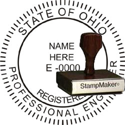 Engineer Seal - Wood Stamp - Ohio