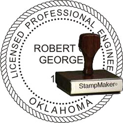 Engineer Seal - Wood Stamp - Oklahoma
