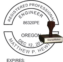 Engineer Seal - Wood Stamp - Oregon