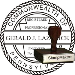 Engineer Seal - Wood Stamp - Pennsylvania