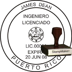 Engineer Seal - Wood Stamp - Puerto Rico