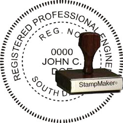 Engineer Seal - Wood Stamp - South Dakota
