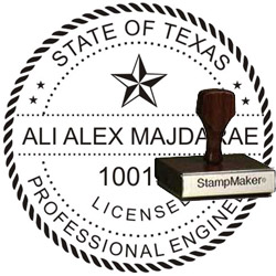 Engineer Seal - Wood Stamp - Texas