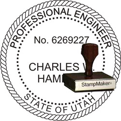 Engineer Seal - Wood Stamp - Utah