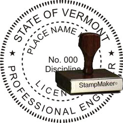 Engineer Seal - Wood Stamp - Vermont