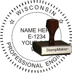 Engineer Seal - Wood Stamp - Wisconsin