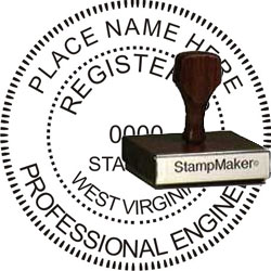 Engineer Seal - Wood Stamp - West Virginia