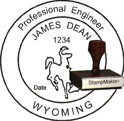 Engineer Seal - Wood Stamp - Wyoming