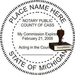 Notary Seal - Wood Stamp - Michigan
