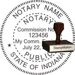 Notary Seal - Wood Stamp - Indiana