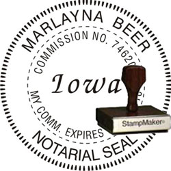 Notary Seal - Wood Stamp - Iowa