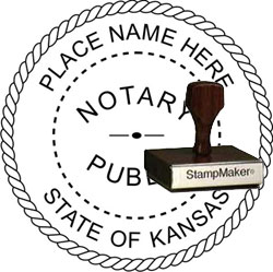 Notary Seal - Wood Stamp - Kansas