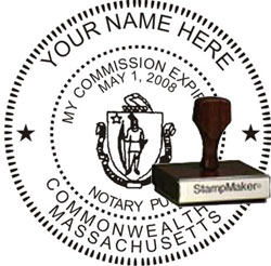 Notary Seal - Wood Stamp - Massachusetts