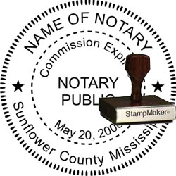 Notary Seal - Wood Stamp - Mississippi