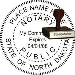 Notary Seal - Wood Stamp - North Dakota