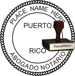 Notary Seal - Wood Stamp - Puerto Rico