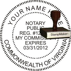 Notary Seal - Wood Stamp - Virginia