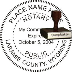 Notary Seal - Wood Stamp - Wyoming